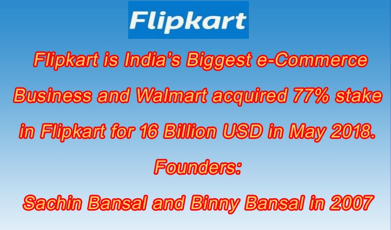 77% Stake in Flipkart is Acquired by Walmart for 16 Billion USD